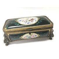 A French 19th Century enamel box of rectangular shape, decor…