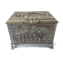 A Continental metal trinket box decorated with raised figure…