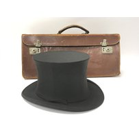 A leather Masonic collapsible case and a collapsible top hat…