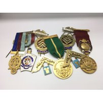 A collection of mostly Masonic silver gilt and metal medals,…