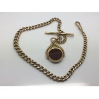 A 9ct gold watch chain with a spinning fob, approx 34g.