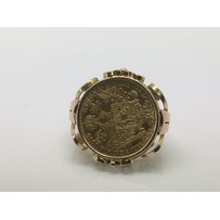 A gold ring inset with a 1915 gold ducket, approx 6.8g.