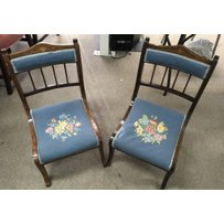 A pair of Edwardian inlaid child's chairs with embroidered s…