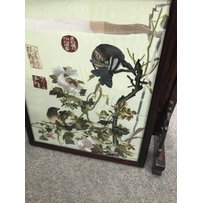 A copper coal box a Chinese fire screen and a bed pan - NO R…