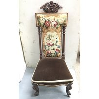 A Victorian prayer chair with floral tapestry style back - N…