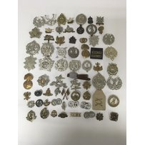 A large collection of military cap badges, approximately 60 …