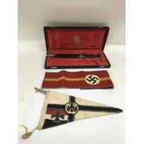 A replica Third Reich dagger and pennant plus a naval pennan…