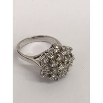 An 18ct white gold diamond cluster ring.Approx size J