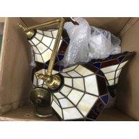 A box of Tiffany style wall lights.