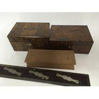 An inlaid walnut box one other walnut box a dandelion wood b…