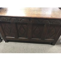 A oak blanket the hinge to above carved panels - NO RESERVE