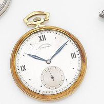 Eterna. An 18ct gold keyless wind open face pocket watch