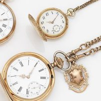 Swiss. A 14ct gold keyless wind full hunter pocket watch