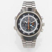 Omega. A stainless steel manual wind chronograph bracelet watch with second time zone