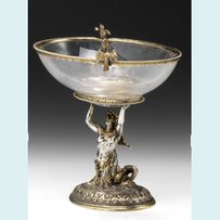 A Continental parcel gilt and glass mounted tazza