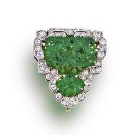 An art deco jadeite jade and diamond clip, French