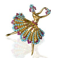 "A diamond, ruby, and turquoise ""Clip Danseuse"" brooch"