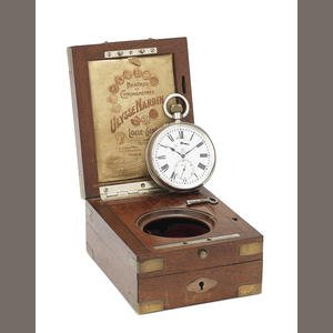 ULYSSE NARDIN. A SILVER KEYLESS WIND OPEN FACE POCKET WATCH IN FIXED WOODEN BOX
